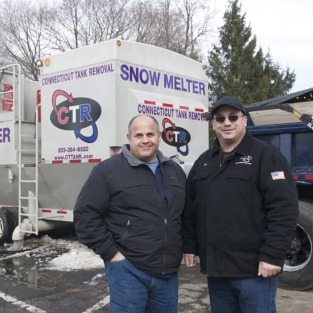 Fairfield Director of Public Works Joe Michelangelo (left) and Connecticut Tank Removal President Joe Palmieri showed off the Snow Melter on Friday in Fairfield.