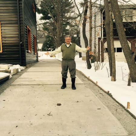 Raj Parikh standing on his heated driveway.