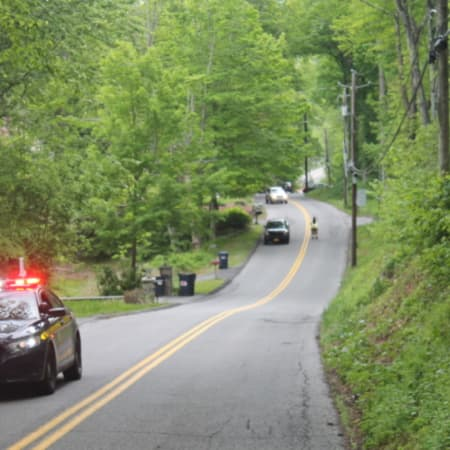State police on the scene as Mahopac Fire Police detour traffic away from the accident.