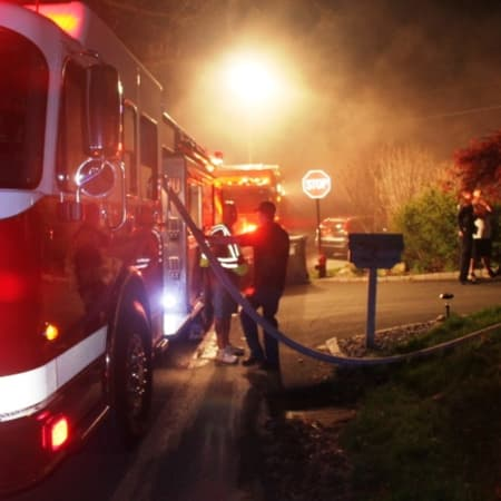 Fire trucks line the roadway on Lake Shore Drive Wednesday night.