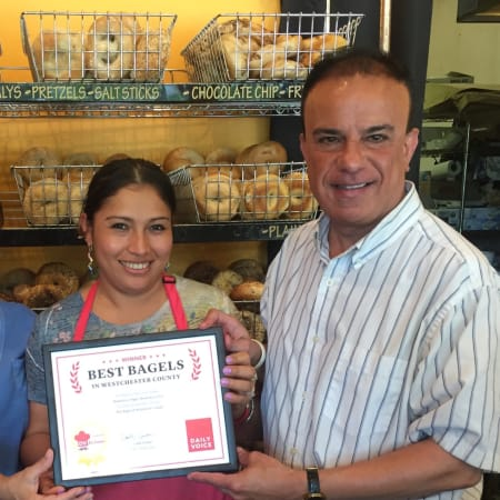 Left to right: Maria Marquez and Ada Ortega of Mount Kisco Bagel with Joe Lombardi, Daily Voice's Director of Media Initiatives/Managing Editor.