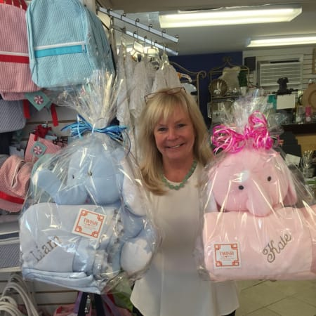 Twish owner Denise MacDonald poses with popular baby items.