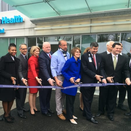 Dignitaries gather to cut the ribbon on Yale New haven Health's Park Avenue Medical Center in Trumbull.