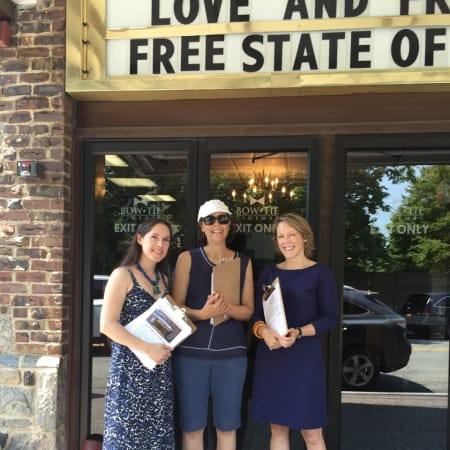 Left to right: Jessica Veith, Ellen Zuckert and Elizabeth Bradley outside Larchmont Playhouse.