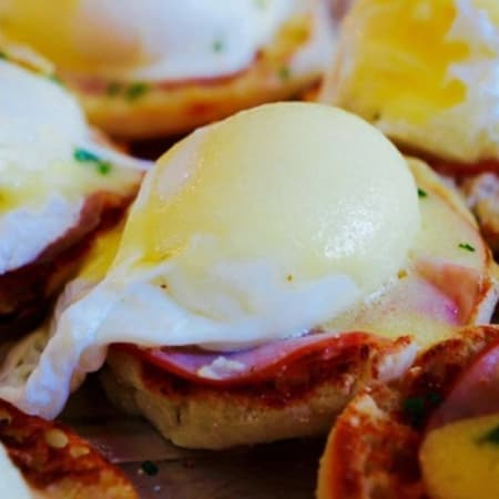 Eggs Benedicts wait to be consumed at the Redding Roadhouse's Sunday brunch.