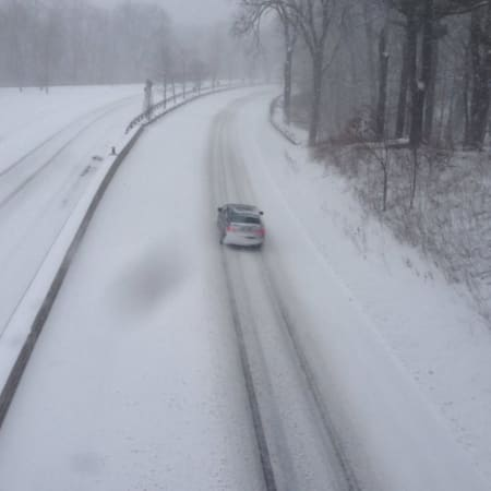 A snow-covered Merritt Parkway in a previous storm.