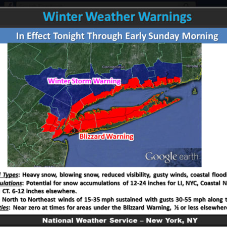A Blizzard Warning is in effect for Southern Westchester until 4 a.m. Sunday.