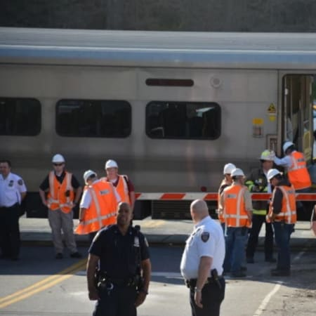 Investigators at the scene at the train crossing where the collision occurred Wednesday afternoon in Bedford Hills.