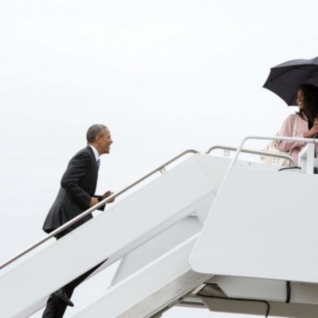 Malia Obama, 17, boards Air Force One with her father, President Obama, last month.