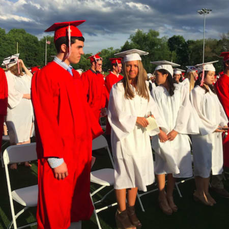 Greenwich High School students line up for the school's 147th commencement ceremony Tuesday.