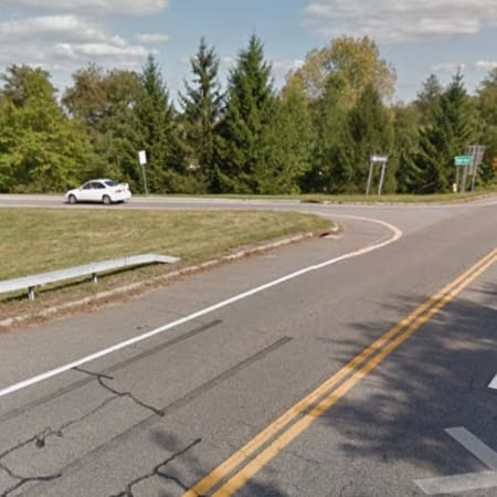 The intersection of Bryant Pond Road and the southbound Taconic State Parkway in Putnam Valley.