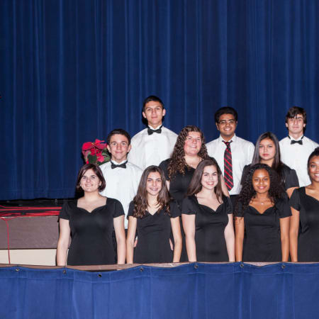 Members of Port Chester High School's Select Choir who will perform with Foreigner at the Capitol Theatre on Feb. 13. It's the third straight year that Linda Penney Ventura's high school students will perform with the legendary band.