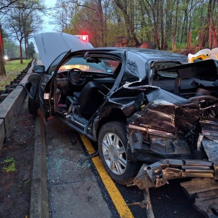 Greenwich firefighter responded to this crash Wednesday morning on the Merritt Parkway between exits 27 and 28.