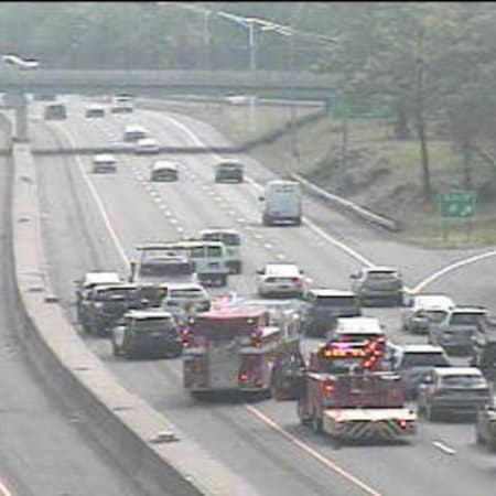 A three-vehicle crash is blocking at least one lane of I-95 north in Greenwich.