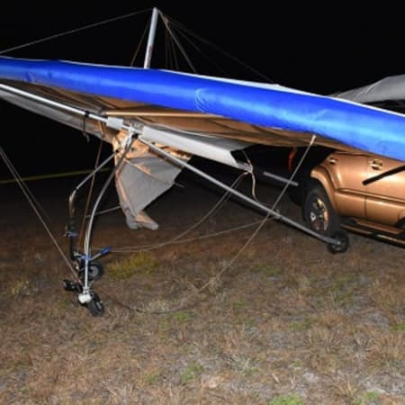 Florida authorities say Harrison resident Tomas Banevicius died when his hang-glider (pictured) suddenly nose-dived, sending him crashing 35 feet to the ground.
