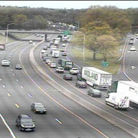 Traffic is jammed on southbound I-95 near Indian Field Road in Greenwich.