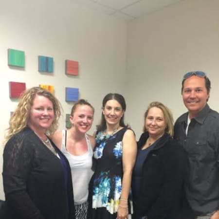 From left are Michelle Giorno, Cora Delibertis, Karen Mello, Shelly Ransom and Clifton Benham, the founding members of SHINE.