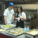 Teens prepare dishes to be served in Port Chester.