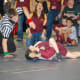 Calli Gilchrist gets encouragement from supporters as she goes for a pin.