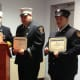Belltown Fire Department Chief John Didelot, Assistant Chief Nick Didelot, Past Assistant Chief Tom Alessi, Captain George Previs, Firefighter Alyssa Frattaroli and Firefighter Zack Lamotta are honored for their work at a recent department dinner.
