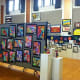 Paintings, collages and all different types of artwork were displayed.