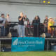 Tim Currie's Motown Band play a collection of oldies favorites during the first concert in a series this summer at Norwalk's Calf Pasture Beach.