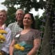 Certified master gardeners, from left, Diana Arbshire, Thomas MacGregor and Rosemary Volpe help in the creation of the Colonial Garden for the Wilton Historical Society at is 224 Danbury Road site.