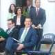 A smiling Gov. Dannel P. Malloy, is with DEEP Commissioner Robert Klee, sitting at left. In back from left are state Rep. Gail Lavielle, R-143rd District, and state Sens. Toni Boucher, R-26th District, and Bob Duff D-25th District.