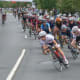 Women riders at a turn during the Danbury Audi Race4Scholars Criterium amateur and professional bicycle races in downtown Danbury on Sunday. It was held on a 1-kilometer course.