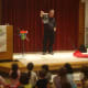 Johnson makes bubble sculptures in front of a captivated audience of young New Canaan readers.