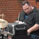 A drummer playing during the Taste of the Town Stroll Thursday in New Canaan.
