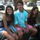Lisa Maxwell, Brandon Delcristo and Sara Fogarty relax after their first day at Greenwich High as sophomores.