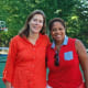 New Canaan Country School Head of Middle School Kirsten Rosolen and Jackque Mclean-Markes share in the opening of Kyle's Court.