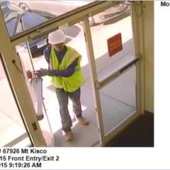 A photo released by police of the suspect in the Saturday morning robbery at Wells Fargo in Mount Kisco.