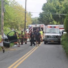 A look at the accident scene at Bucks Hollow Road on Tuesday morning.
