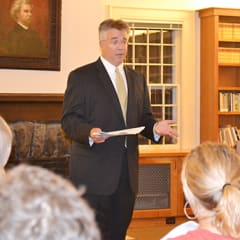 State Rep. John Shaban addresses residents at a recent town hall meeting at the Mark Twain Library in Redding.