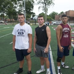 Team leaders, from L: Sr. C/DT Robert Jones, Sr. RB/S Kyle Cristello, Sr. T/DE Iran Cedano, Sr. G/LB Adonnis Torres.