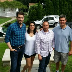 "Justin Pieragostini (center), with Olivia Lopuzzo (second from left) and Dan Lopuzzo (second from right). The hosts of ""Property Brothers"" are on the  left and right."