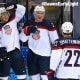 New Canaan's Max Pacioretty (67) celebrates with teammates after Team USA scored a goal in Thursday's 7-1 win over Slovakia.