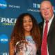 Darrell Halloran Memorial Award Recipient Kaitlyn Lynch and Director of Athletics Mark Brown.