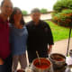 Claudio Santos, Christina Ramirez and Fernando Reyes of Bianco Rosso serve up tomato and cucumber gazpacho and chilled seafood salad.