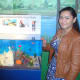 Keily Caldron and Steffany Padilla with their project on marine conservation and coral reefs.