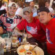 Kevin Cosgrove, Ryan Mitchell, Pat Moffett and Job Fernandez celebrate the U.S.A. at O'Neill's Pub in South Norwalk on Thursday during the game against Germany.