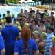 Chappaqua swimmers huddle.