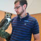 Oscar, a Great-Horned Owl, at the Wilton Library on Wednesday.