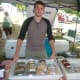 Mike Guthman, of Norwalk, at the Du Soleil tent at the Wilton Farmers Market.