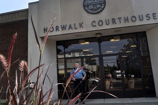 The Norwalk Courthouse was temporarily evacuated Wednesday morning due to a bomb threat, but no explosives were found.