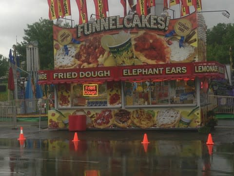 The carnival at the Danbury Fair Mall was rained out Thursday. Continued wet weather will probably keep the midway closed again Friday.