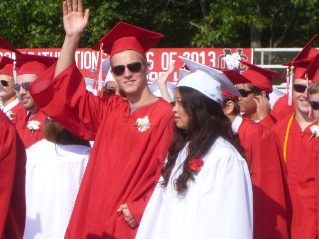 The Class of 2013 waved goodbye to New Canaan High School on Friday at its commencement ceremony.