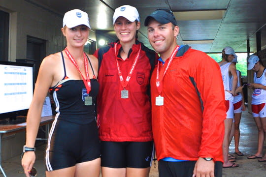 Saugatuck Rowing's Christina Johnson, left, of Redding, and Weston's Jo Gurman, center, earned berths on a U.S. team that will compete in the world championships in August. They are with coach Chase Graham.